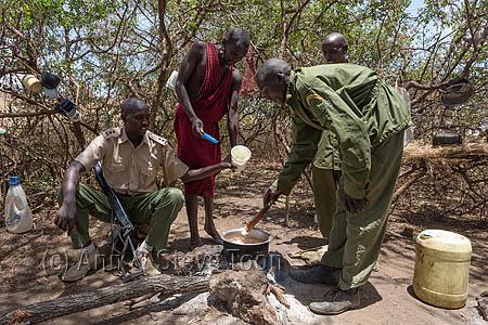 ACPP89 Anti-poaching patrol at camp, Chyulu Hills